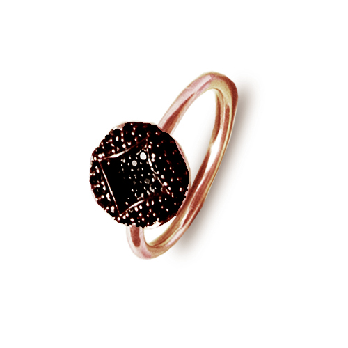 Srebrni prsten s bakrenom pozlatom i crnim cirkonima