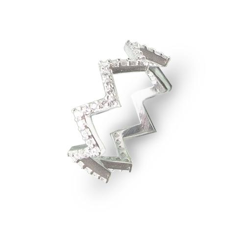Zanimljiv srebrni prsten zig-zag s cirkonima internet trgovina webshop srebrni nakit besplatna dostava