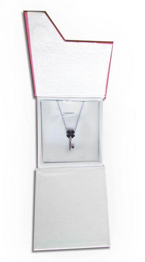 srebrni lančić ključ s crnim cirkonima internet trgovina webshop