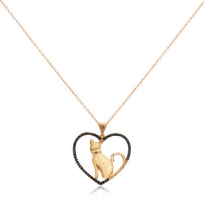 Pozlaćeni srebrni lančić s mačkom u srcu s crnim cirkonima