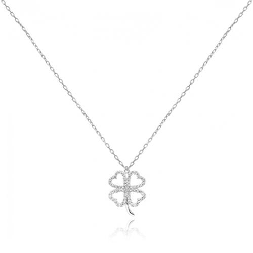Srebrna ogrlica s privjeskom u obliku djeteline s četiri lista s cirkonima online trgovina