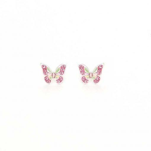 srebrne naušnice za djevojčice leptir