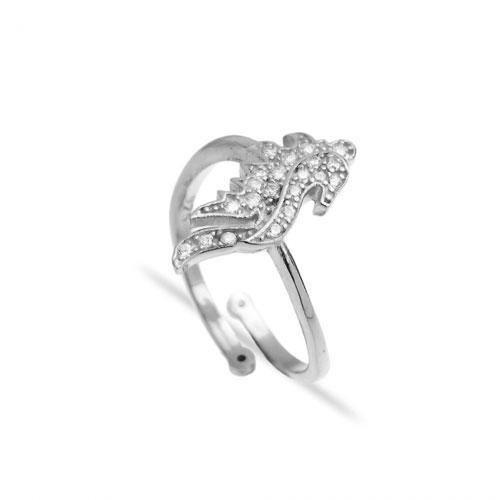 srebrni prsten podesiv po veličini, morski konjic s cirkonima