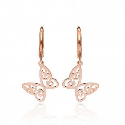 srebrne naušnice u obliku leptira s bakrenom pozlatom