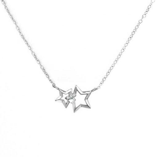 srebrni lanćić s privjeskom u obliku dvije zvijezde