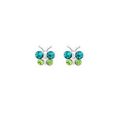 Srebrne naušnice leptiri s plavim i zelenim cirkonima