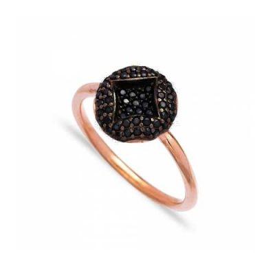 srebrni prsten rose gold s crnim cirkonima